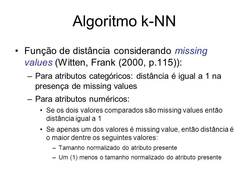 Algoritmo k-NN Função de distância considerando missing values (Witten, Frank (2000, p.115)): –Para atributos categóricos: distância é igual a 1 na pr