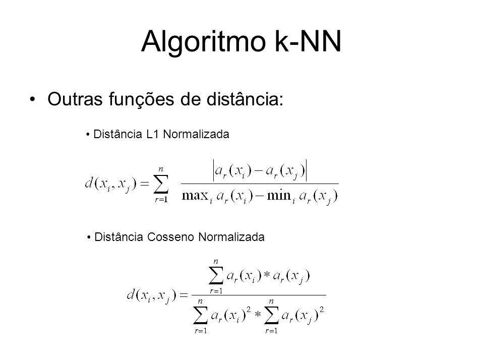 Algoritmo k-NN Outras funções de distância: Distância L1 Normalizada Distância Cosseno Normalizada