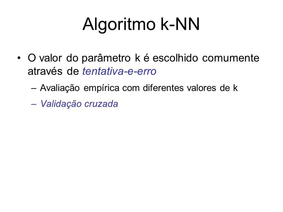 Algoritmo k-NN O valor do parâmetro k é escolhido comumente através de tentativa-e-erro –Avaliação empírica com diferentes valores de k –Validação cru