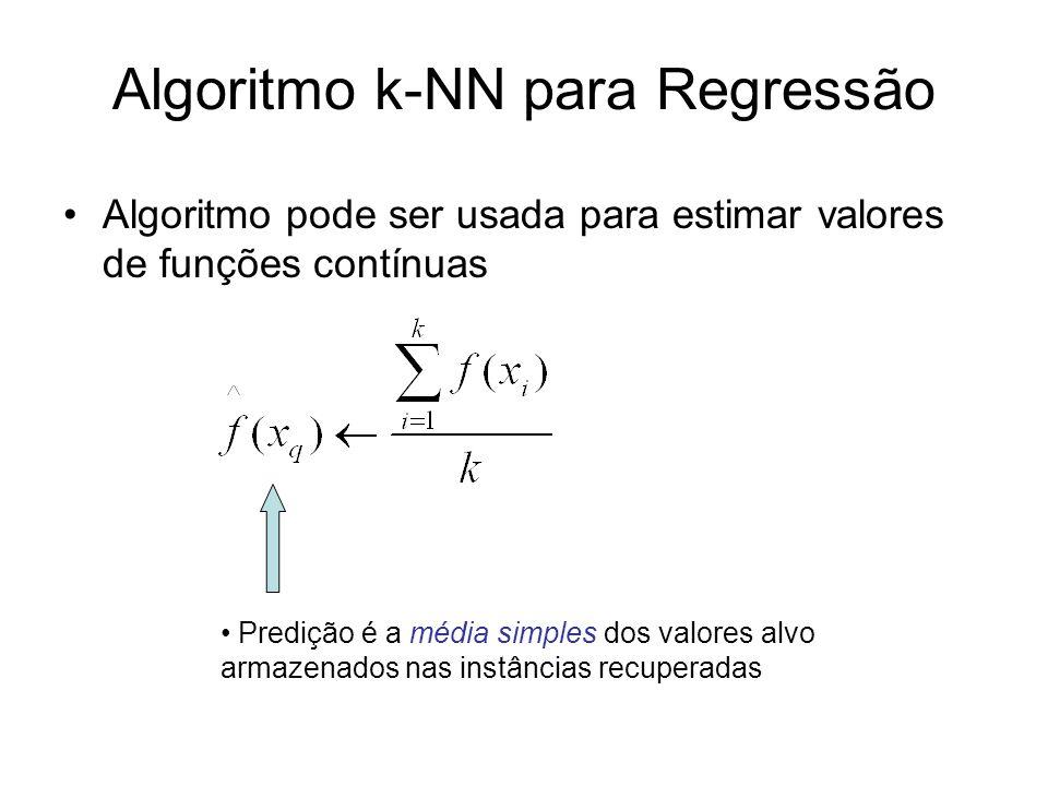 Algoritmo k-NN para Regressão Algoritmo pode ser usada para estimar valores de funções contínuas Predição é a média simples dos valores alvo armazenad
