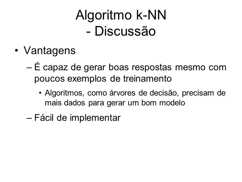 Algoritmo k-NN - Discussão Vantagens –É capaz de gerar boas respostas mesmo com poucos exemplos de treinamento Algoritmos, como árvores de decisão, pr