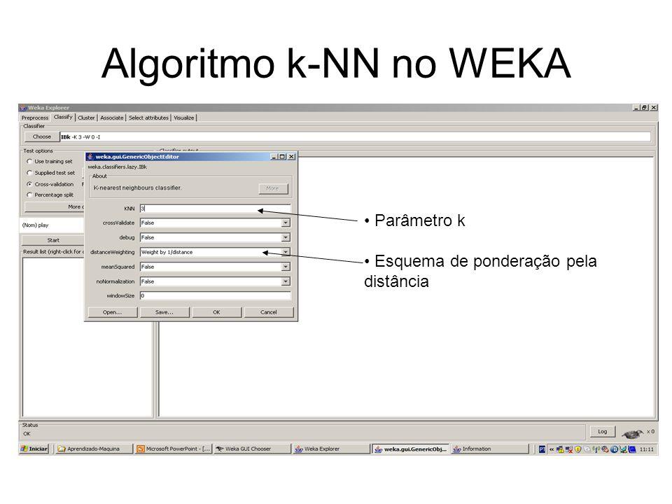 Algoritmo k-NN no WEKA Parâmetro k Esquema de ponderação pela distância
