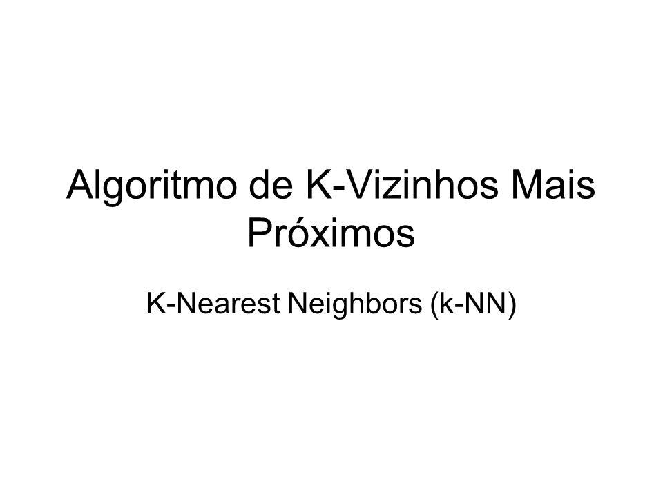 Algoritmo k-NN Todas as instâncias correspondem a pontos em um espaço n-dimensional Vizinhança definida por uma função de distância, ou por uma função de similaridade –Menor distância = maior similaridade Classe de um novo exemplo é definida a partir dos vizinhos mais próximos