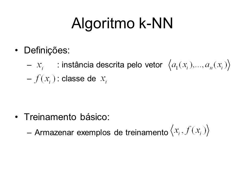 Algoritmo k-NN Definições: – : instância descrita pelo vetor – : classe de Treinamento básico: –Armazenar exemplos de treinamento
