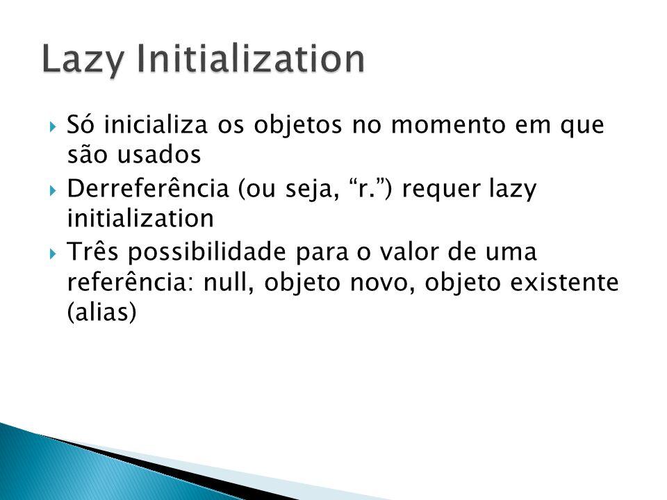 Só inicializa os objetos no momento em que são usados Derreferência (ou seja, r.) requer lazy initialization Três possibilidade para o valor de uma re