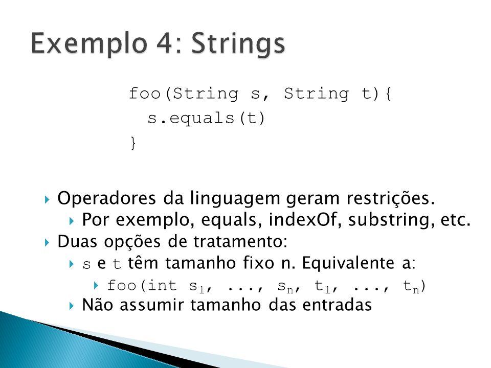 foo(String s, String t){ s.equals(t) } Operadores da linguagem geram restrições. Por exemplo, equals, indexOf, substring, etc. Duas opções de tratamen