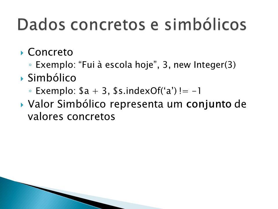 Concreto Exemplo: Fui à escola hoje, 3, new Integer(3) Simbólico Exemplo: $a + 3, $s.indexOf(a) != -1 Valor Simbólico representa um conjunto de valore