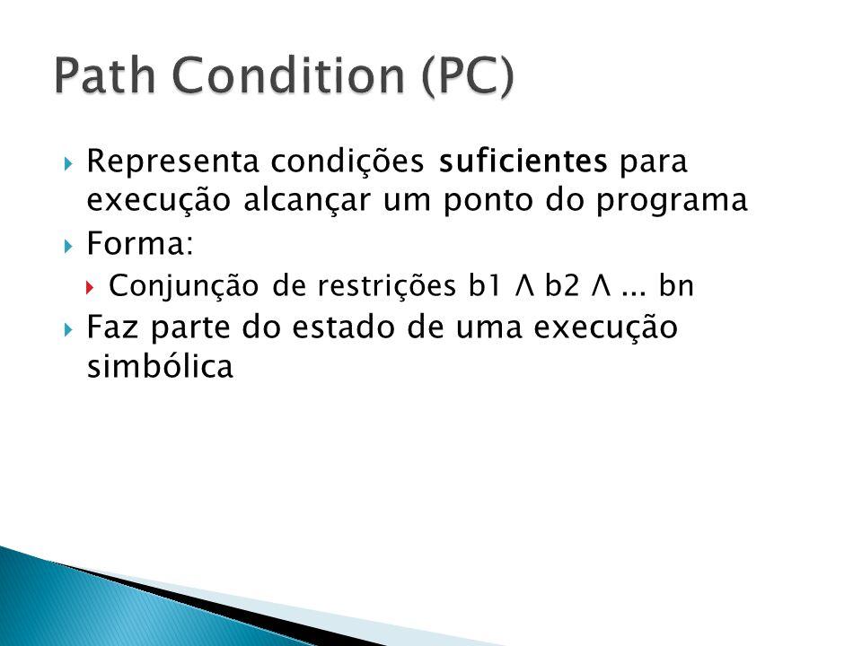 Representa condições suficientes para execução alcançar um ponto do programa Forma: Conjunção de restrições b1 Λ b2 Λ... bn Faz parte do estado de uma