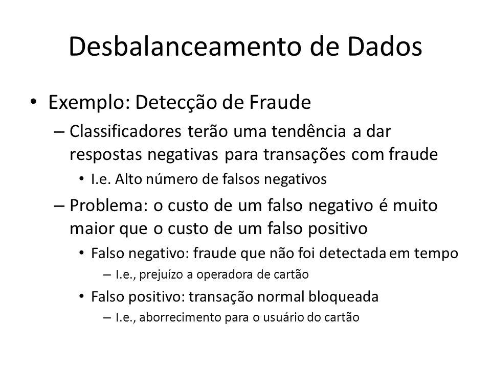 Desbalanceamento de Dados Exemplo: Detecção de Fraude – Classificadores terão uma tendência a dar respostas negativas para transações com fraude I.e.