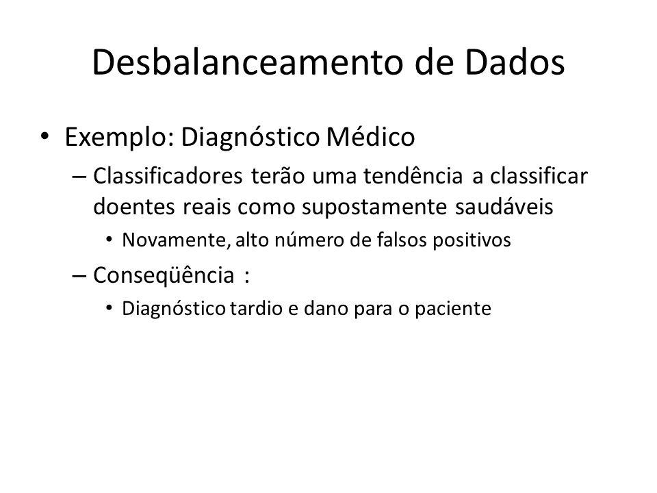 Desbalanceamento de Dados Exemplo: Diagnóstico Médico – Classificadores terão uma tendência a classificar doentes reais como supostamente saudáveis No