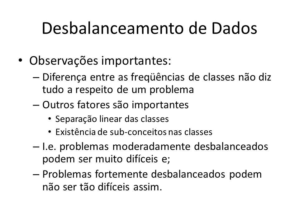 Desbalanceamento de Dados Observações importantes: – Diferença entre as freqüências de classes não diz tudo a respeito de um problema – Outros fatores