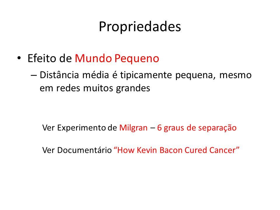 Propriedades Efeito de Mundo Pequeno – Distância média é tipicamente pequena, mesmo em redes muitos grandes Ver Experimento de Milgran – 6 graus de separação Ver Documentário How Kevin Bacon Cured Cancer