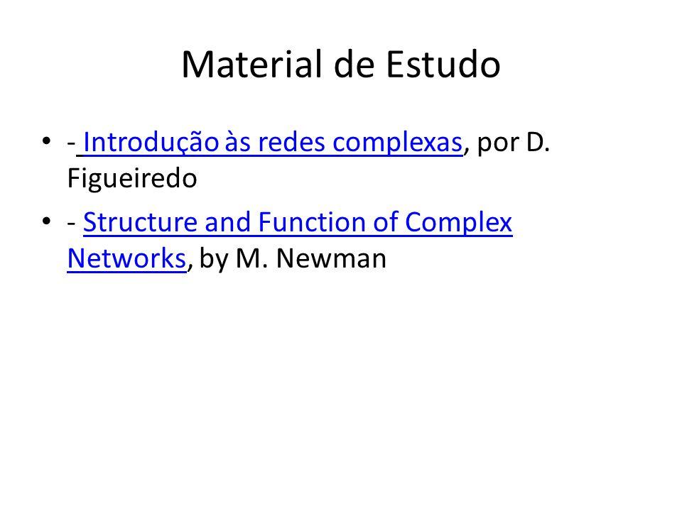 Material de Estudo - Introdução às redes complexas, por D. FigueiredoIntrodução às redes complexas - Structure and Function of Complex Networks, by M.