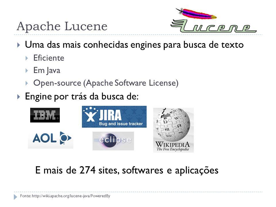 Apache Lucene Uma das mais conhecidas engines para busca de texto Eficiente Em Java Open-source (Apache Software License) Engine por trás da busca de: E mais de 274 sites, softwares e aplicações Fonte: http://wiki.apache.org/lucene-java/PoweredBy