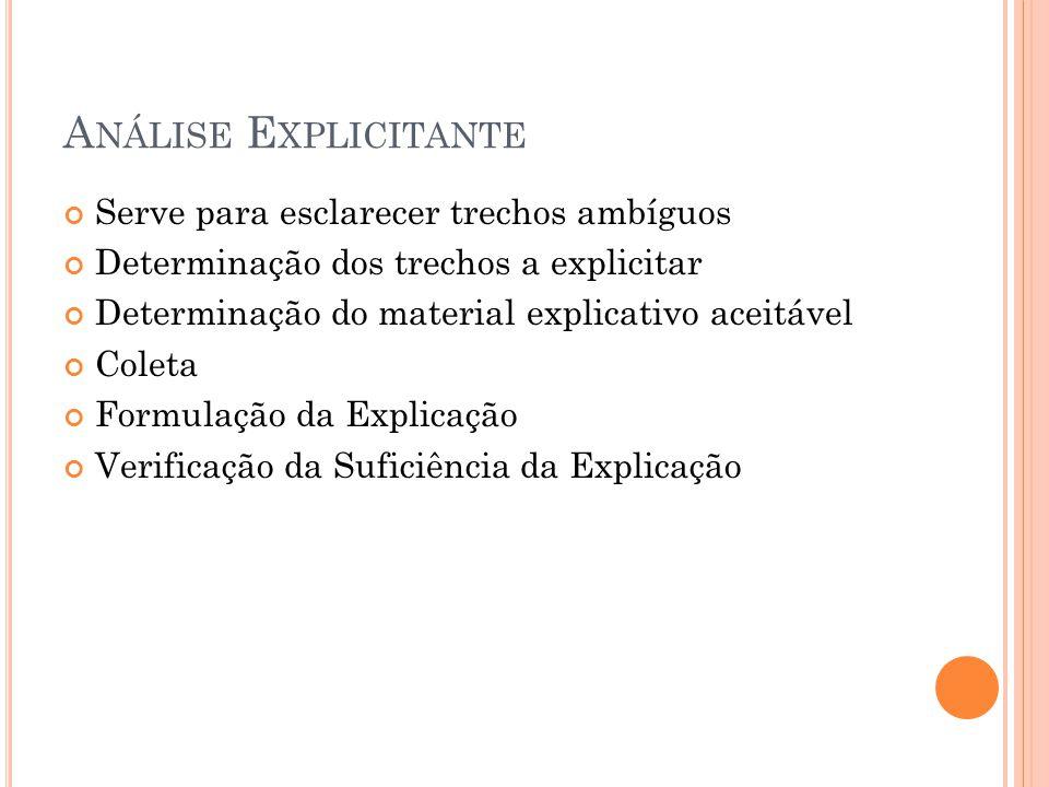 A NÁLISE E XPLICITANTE Serve para esclarecer trechos ambíguos Determinação dos trechos a explicitar Determinação do material explicativo aceitável Coleta Formulação da Explicação Verificação da Suficiência da Explicação
