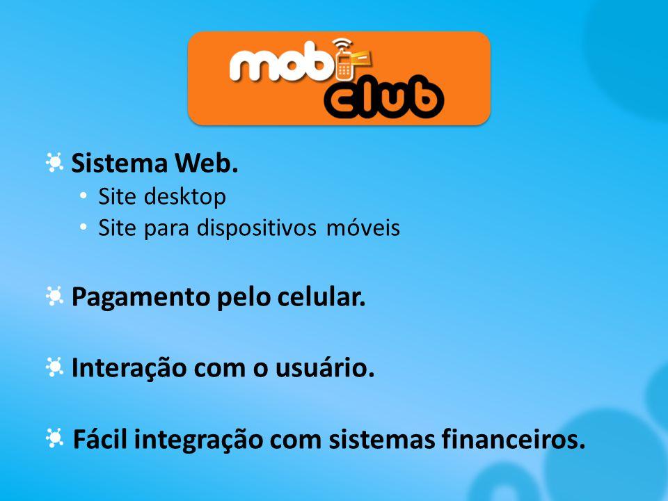 Sistema Web.Site desktop Site para dispositivos móveis Pagamento pelo celular.