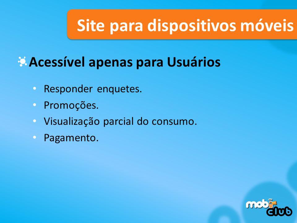 Site para dispositivos móveis Acessível apenas para Usuários Responder enquetes.