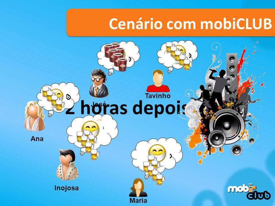 2 horas depois... Cenário com mobiCLUB Tavinho Maria Ana José Inojosa