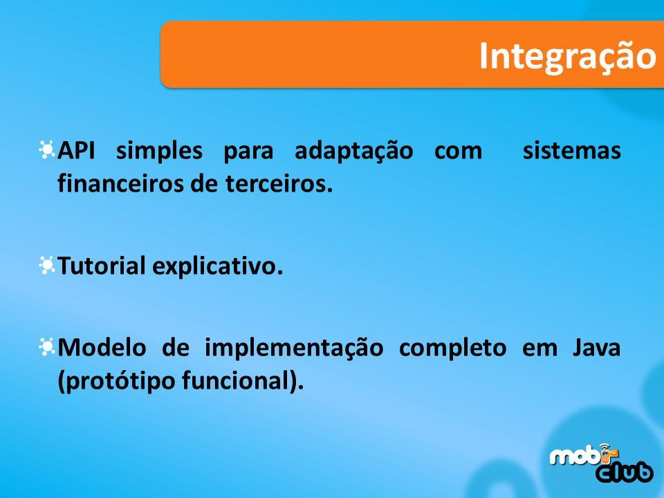 Integração API simples para adaptação com sistemas financeiros de terceiros.