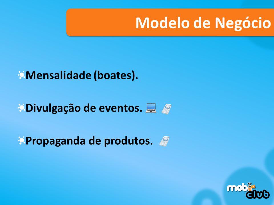 Modelo de Negócio Mensalidade (boates). Divulgação de eventos. Propaganda de produtos.