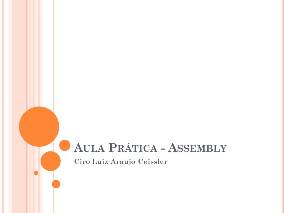 A ULA P RÁTICA - A SSEMBLY Ciro Luiz Araujo Ceissler