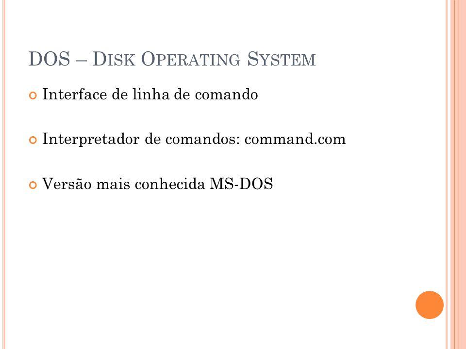 DOS - C OMANDOS dir/w : exibe lista de arquivos md : criar pasta cd : entrar numa pasta rd : excluir uma pasta cls : limpar tela date : data time : tempo echo : exibir conteúdo na tela help : relação de comandos