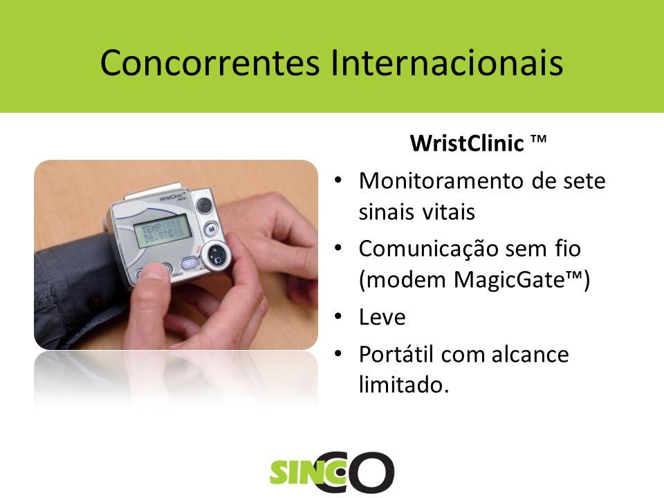 Concorrentes Internacionais WristClinic Monitoramento de sete sinais vitais Comunicação sem fio (modem MagicGate) Leve Portátil com alcance limitado.