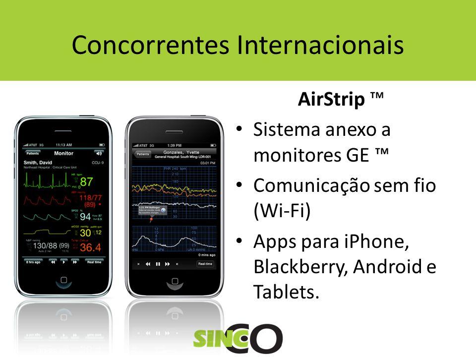 Concorrentes Internacionais AirStrip Sistema anexo a monitores GE Comunicação sem fio (Wi-Fi) Apps para iPhone, Blackberry, Android e Tablets.