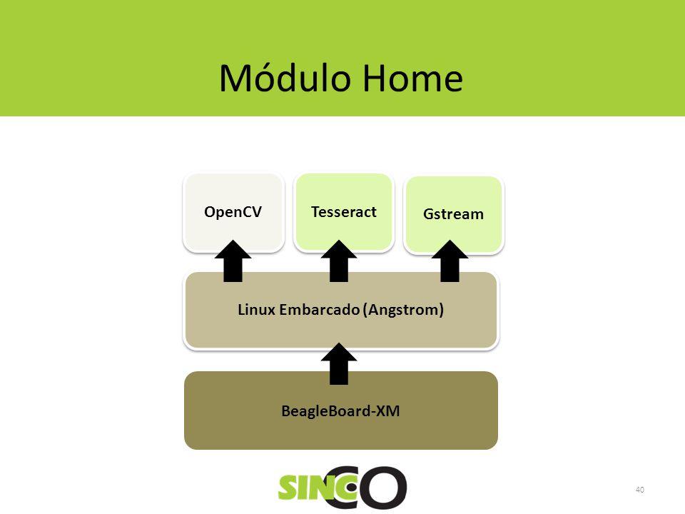Gstream Tesseract OpenCV Linux Embarcado (Angstrom) Módulo Home BeagleBoard-XM 40