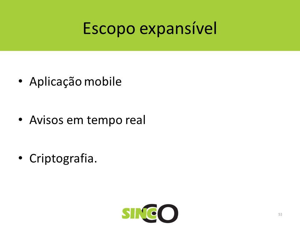 Escopo expansível Aplicação mobile Avisos em tempo real Criptografia. 53