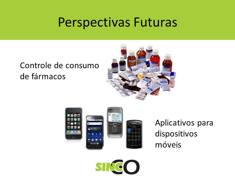 Perspectivas Futuras Controle de consumo de fármacos Aplicativos para dispositivos móveis