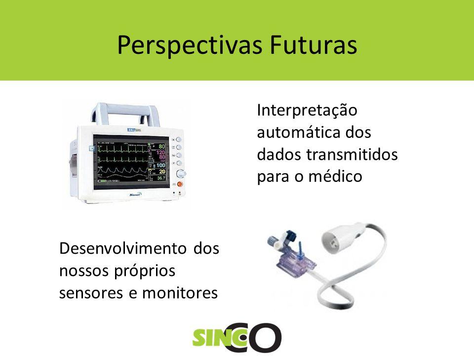 Perspectivas Futuras Interpretação automática dos dados transmitidos para o médico Desenvolvimento dos nossos próprios sensores e monitores
