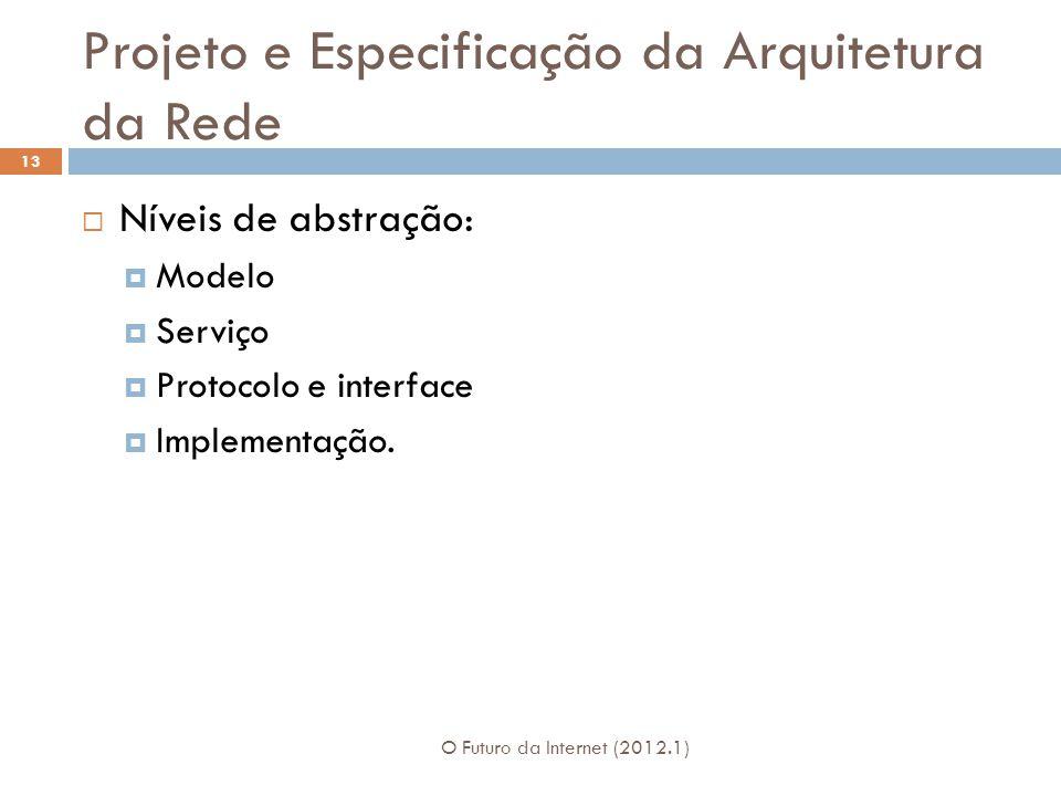 Projeto e Especificação da Arquitetura da Rede O Futuro da Internet (2012.1) 13 Níveis de abstração: Modelo Serviço Protocolo e interface Implementaçã