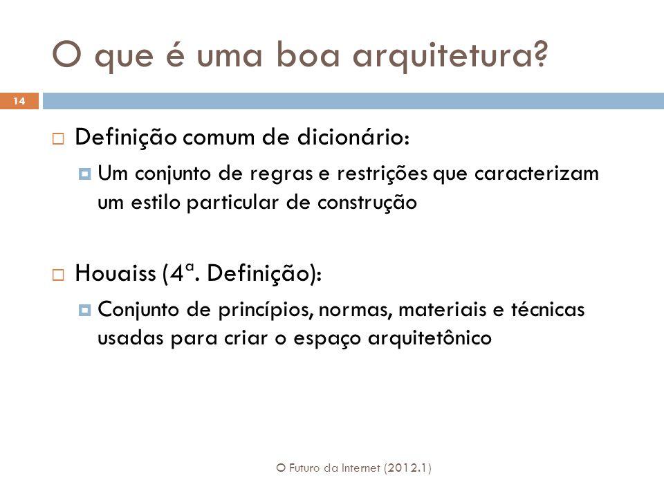 O que é uma boa arquitetura? O Futuro da Internet (2012.1) 14 Definição comum de dicionário: Um conjunto de regras e restrições que caracterizam um es
