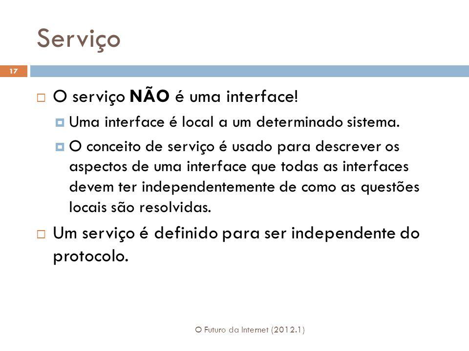 Serviço O Futuro da Internet (2012.1) 17 O serviço NÃO é uma interface! Uma interface é local a um determinado sistema. O conceito de serviço é usado