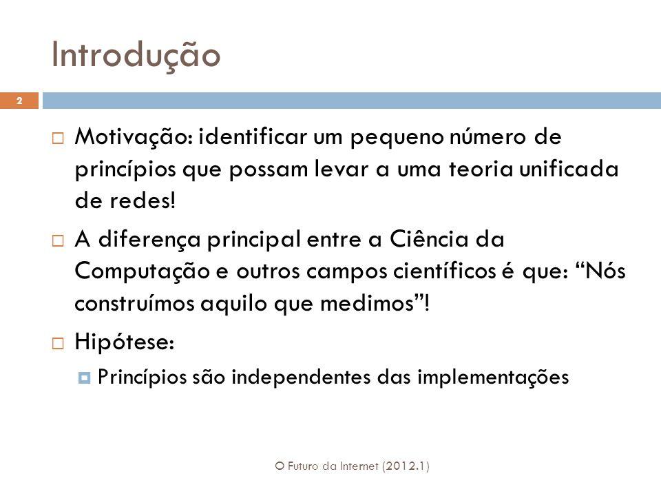 Especificando Protocolos O Futuro da Internet (2012.1) 23 Especificar protocolos e interface são passos críticos.