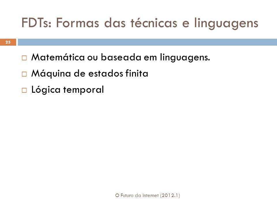 FDTs: Formas das técnicas e linguagens O Futuro da Internet (2012.1) 25 Matemática ou baseada em linguagens. Máquina de estados finita Lógica temporal