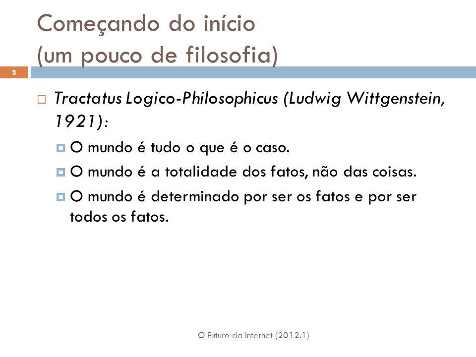 Começando do início (um pouco de filosofia) O Futuro da Internet (2012.1) 3 Tractatus Logico-Philosophicus (Ludwig Wittgenstein, 1921): O mundo é tudo