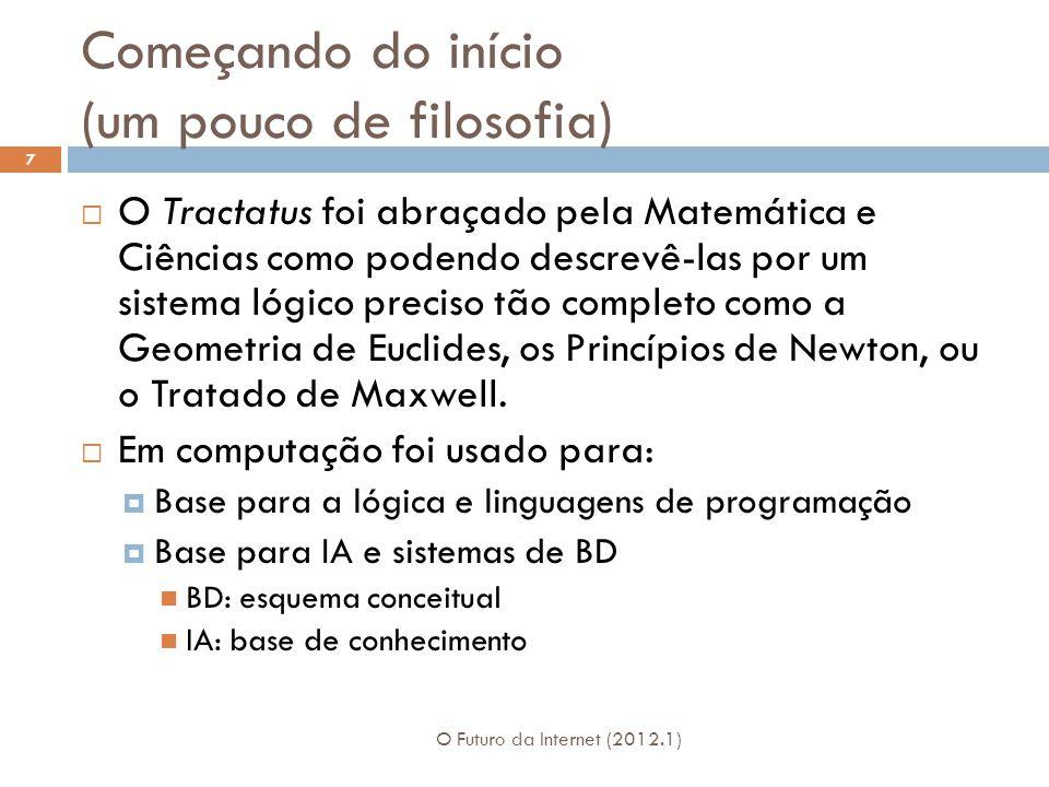 Começando do início (um pouco de filosofia) O Futuro da Internet (2012.1) 7 O Tractatus foi abraçado pela Matemática e Ciências como podendo descrevê-