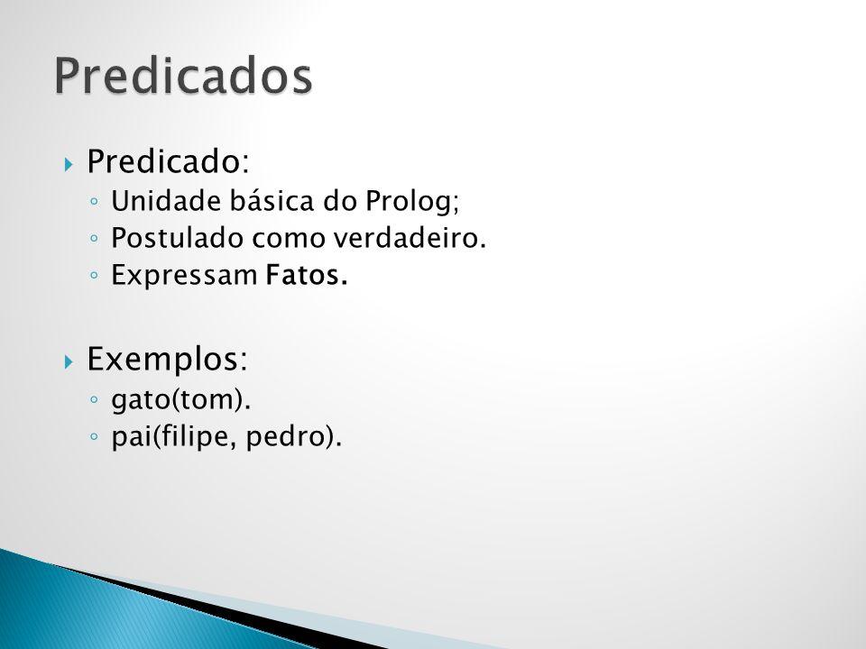 Predicado: Unidade básica do Prolog; Postulado como verdadeiro. Expressam Fatos. Exemplos: gato(tom). pai(filipe, pedro).