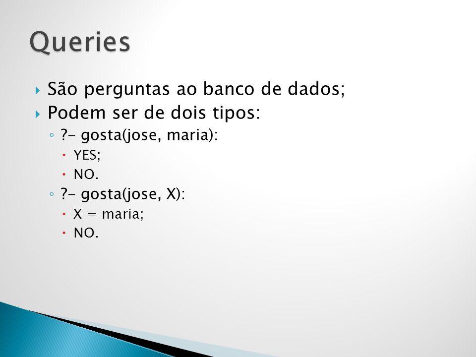 São perguntas ao banco de dados; Podem ser de dois tipos: ?- gosta(jose, maria): YES; NO. ?- gosta(jose, X): X = maria; NO.