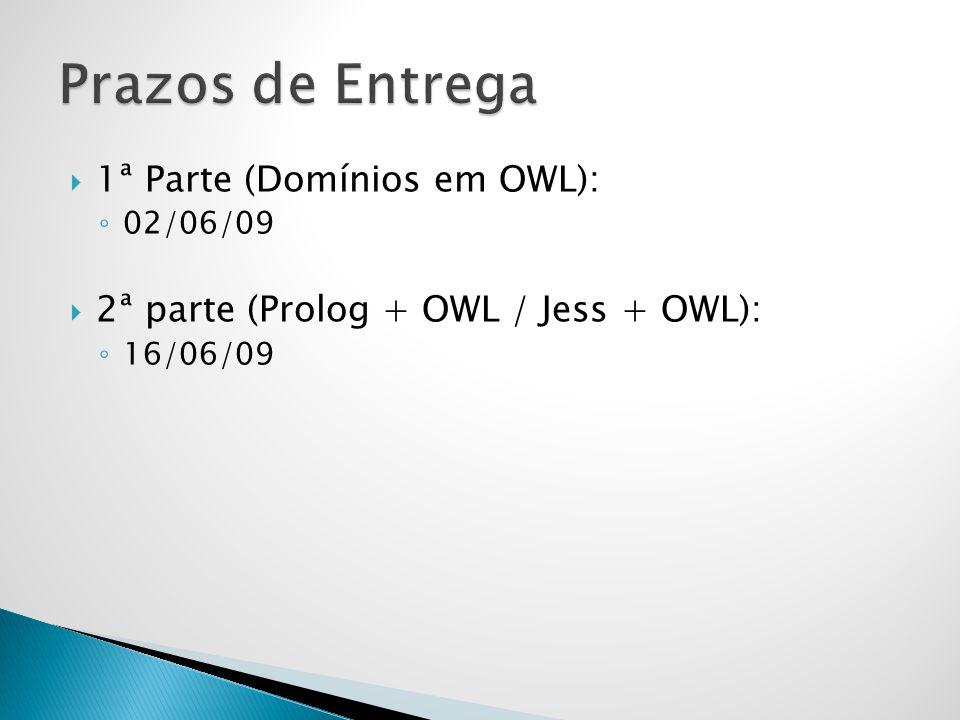 1ª Parte (Domínios em OWL): 02/06/09 2ª parte (Prolog + OWL / Jess + OWL): 16/06/09