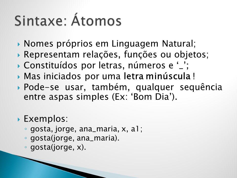 Nomes próprios em Linguagem Natural; Representam relações, funções ou objetos; Constituídos por letras, números e _; Mas iniciados por uma letra minús