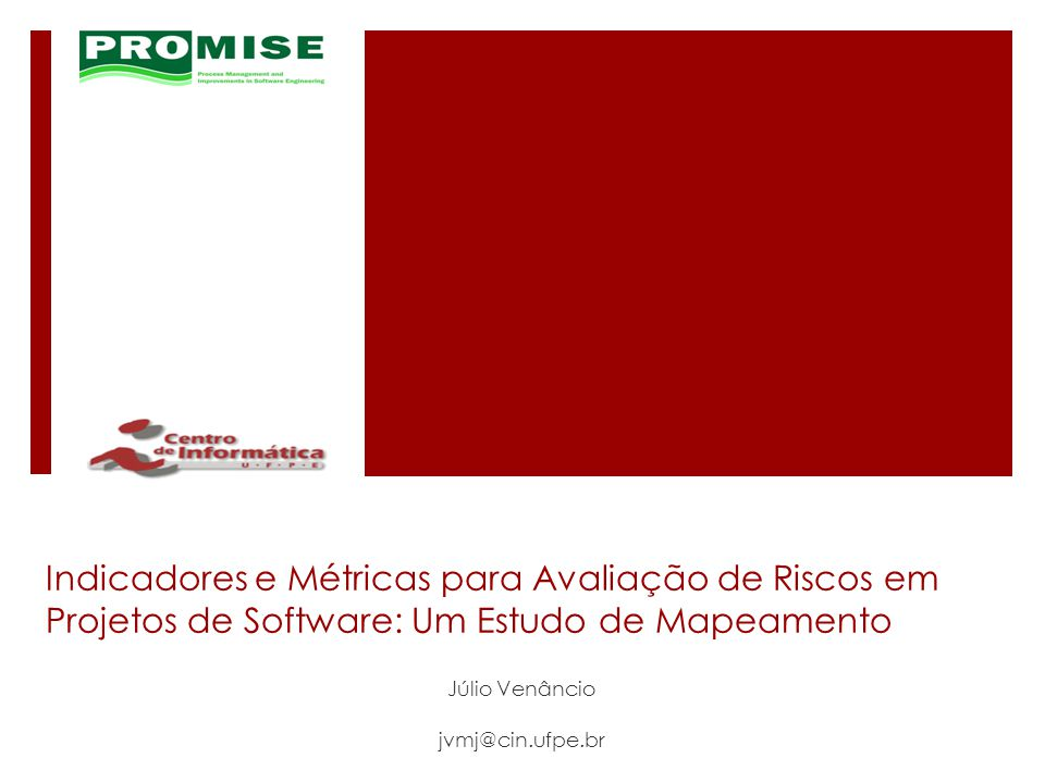 Novos trabalhos selecionados (2/2) - Títulos Catalog of Metrics for Assessing Security Risks of Software throughout the Software Development Life Cycle A method of project selection based on capital asset pricing theories in a framework of mean- semideviation behavior The impact of size and volatility on IT project performance Engineering and contracting projects: A value at risk based approach to portfolio balancing A framework for ex ante project risk assessment based on absorptive capacity Risk management on large capital projects The development of project risk metrics for robust concurrent product development (CPD) across the supply chain Quantifying the value of IT-investments A project risk metric 22