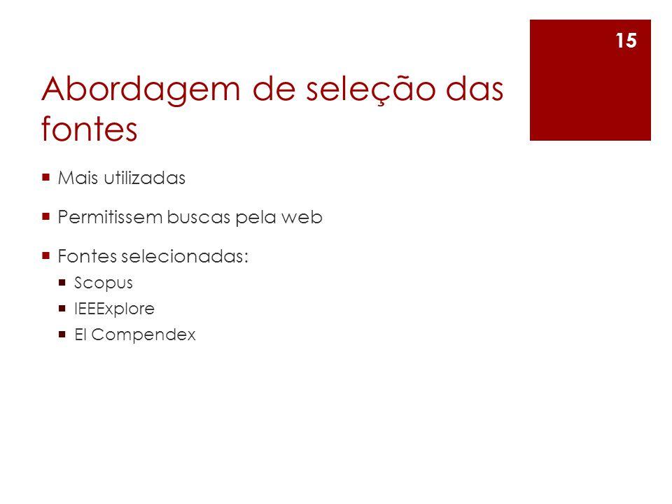 Abordagem de seleção das fontes Mais utilizadas Permitissem buscas pela web Fontes selecionadas: Scopus IEEExplore El Compendex 15
