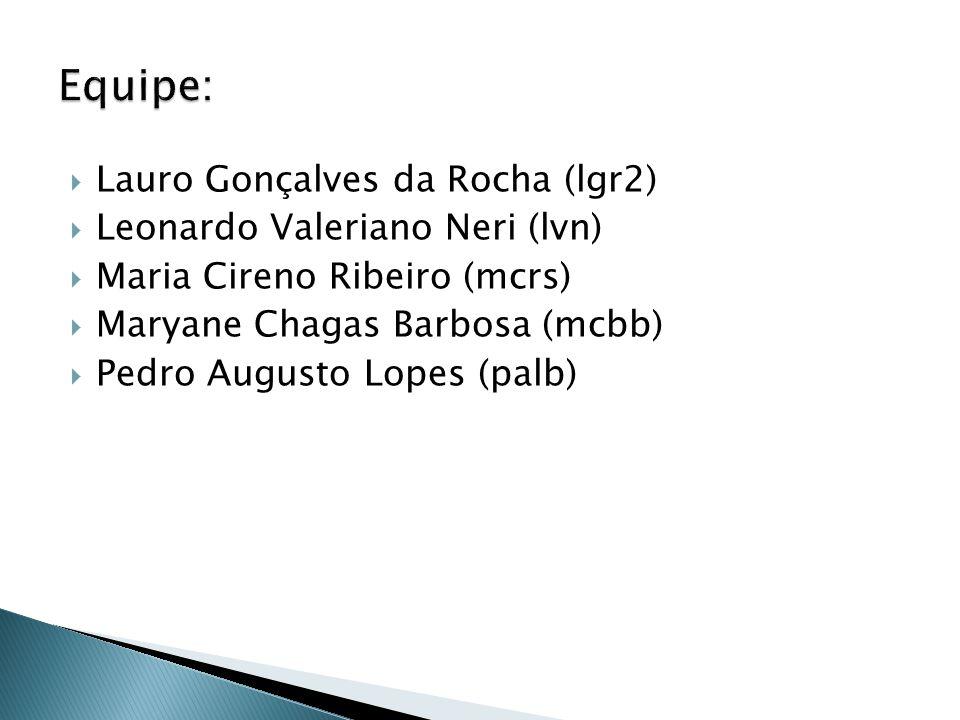 Lauro Gonçalves da Rocha (lgr2) Leonardo Valeriano Neri (lvn) Maria Cireno Ribeiro (mcrs) Maryane Chagas Barbosa (mcbb) Pedro Augusto Lopes (palb)