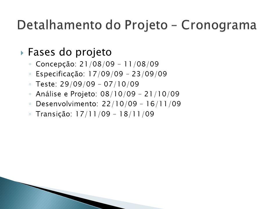 Fases do projeto Concepção: 21/08/09 – 11/08/09 Especificação: 17/09/09 – 23/09/09 Teste: 29/09/09 – 07/10/09 Análise e Projeto: 08/10/09 – 21/10/09 D