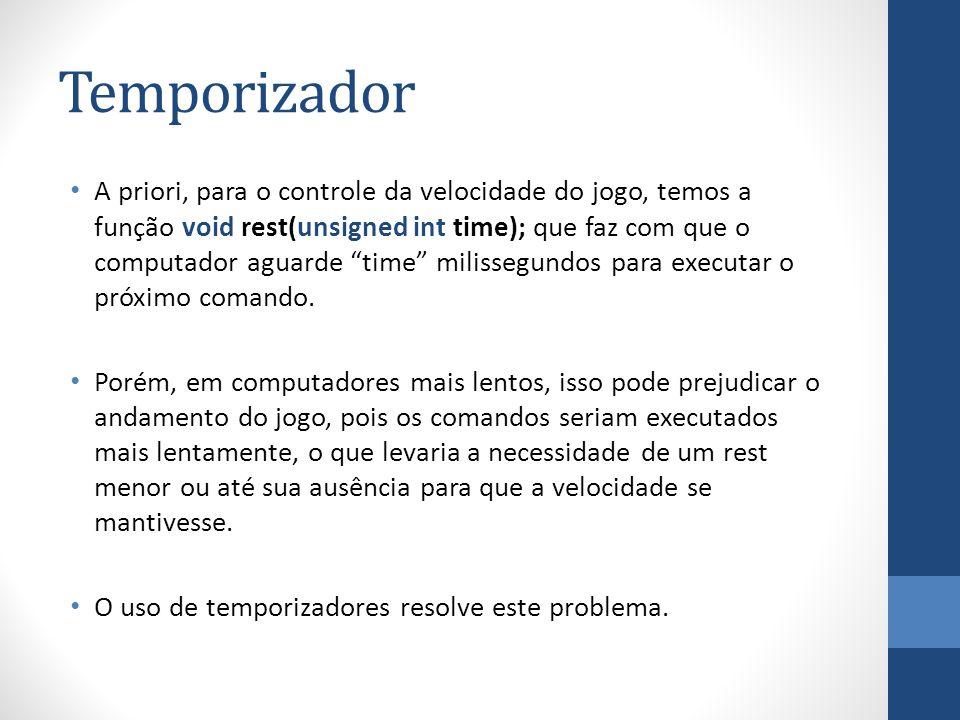 Temporizador A priori, para o controle da velocidade do jogo, temos a função void rest(unsigned int time); que faz com que o computador aguarde time m
