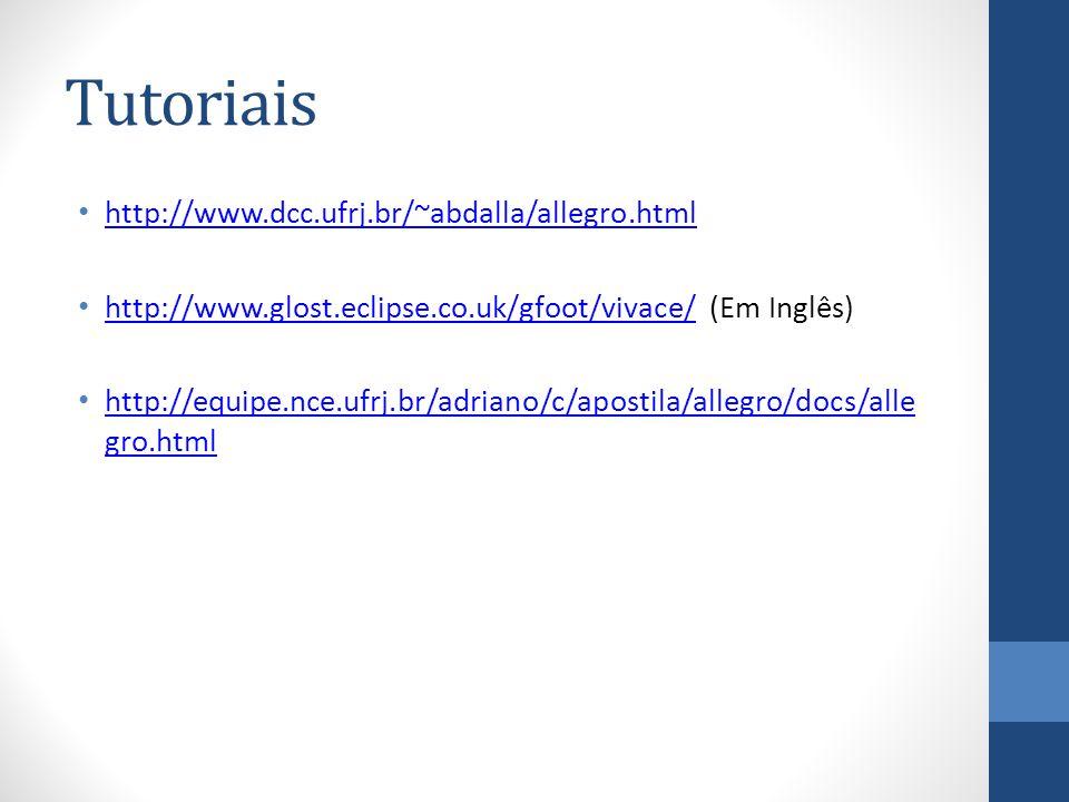 Tutoriais http://www.dcc.ufrj.br/~abdalla/allegro.html http://www.glost.eclipse.co.uk/gfoot/vivace/ (Em Inglês) http://www.glost.eclipse.co.uk/gfoot/vivace/ http://equipe.nce.ufrj.br/adriano/c/apostila/allegro/docs/alle gro.html http://equipe.nce.ufrj.br/adriano/c/apostila/allegro/docs/alle gro.html