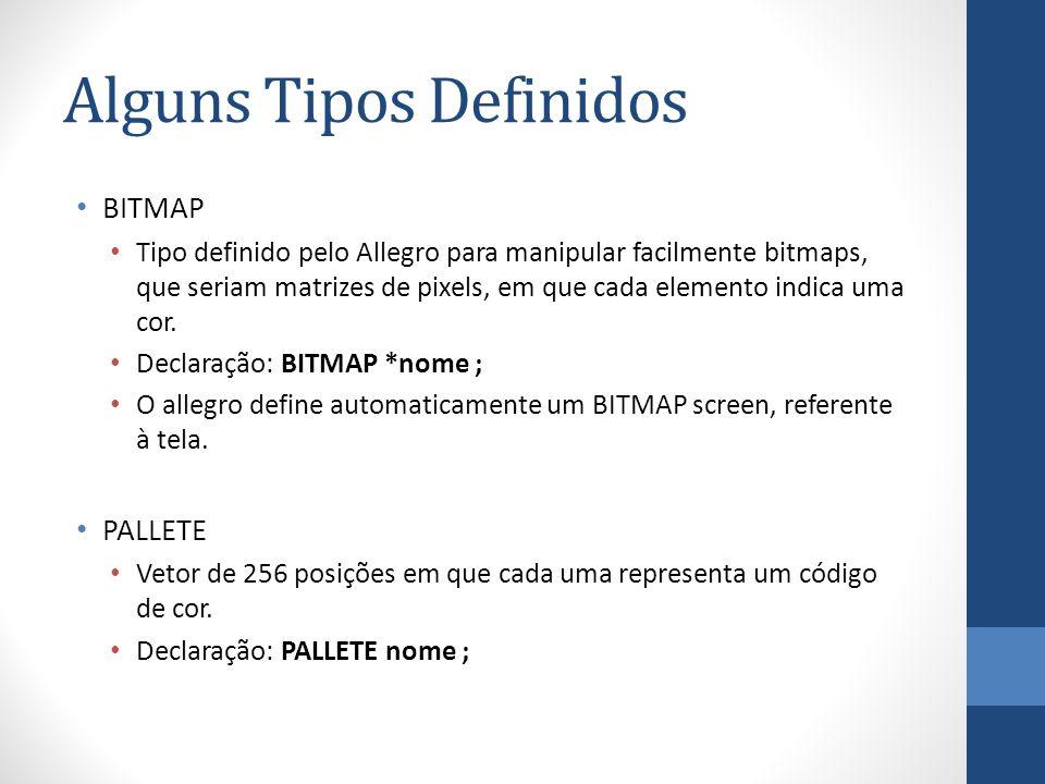 Alguns Tipos Definidos BITMAP Tipo definido pelo Allegro para manipular facilmente bitmaps, que seriam matrizes de pixels, em que cada elemento indica uma cor.